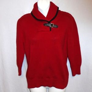 💥Chaps Ralph Lauren Red w Leather Buckle Sweater